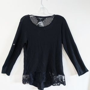 NWT Papillon Black Mixed Media Ruffle Knit Top M